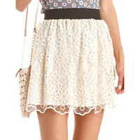 Daisy Lace Skater Skirt: Charlotte Russe