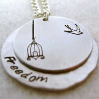 Metal Stamped Birdcage Bird Freedom Necklace