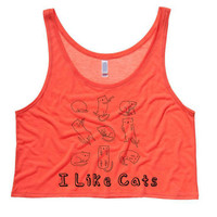 I Like Cats Cropped Tank Top