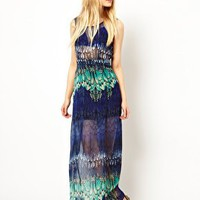 Jovonnista Feather Print Maxi Dress at asos.com