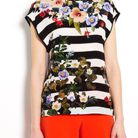 Decoy Flowers Stripe Silk Front Top by Mother of Pearl