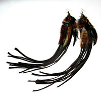Extra Long Suede Fringe Feather Earrings. Bohemian Statement Jewelry