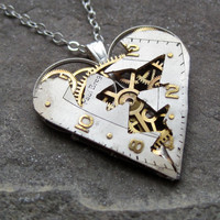 Heart Necklace &quot;Heal&quot; Clockwork Gears Heart Steampunk Necklace Clockwork Shattered face by A Mechanical Mind Mother&#x27;s Day