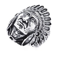 Amazon.com: 30MM Stainless Steel Head Of Indian Chief Ring For Men (Size 9 to 15): Jewelry