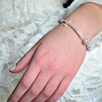 Silver Rhinestone Cross Bracelet  Purple Pearl Bracelet- Handmade