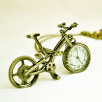 Vintage Bicycle Watch Necklace