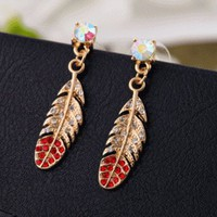 Sparkly Feather Rhinestone Fashion Earrings | LilyFair Jewelry