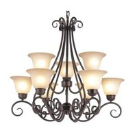 Filament Design Cabernet Collection 9-Light Oiled Bronze Chandelier with Tea Stained Shade-CLI-WUP594455 at The Home Depot