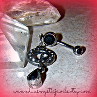 Black Onyx Belly Button Ring Hipster Direct Checkout Ready to Ship