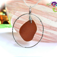 Sea Glass Necklace - Amber brown seaglass from Hawaii, Hawaiian jewelry by Mermaid Tears