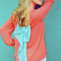 I Love You So Blouse: Neon Coral/Aqua | Hope&#x27;s