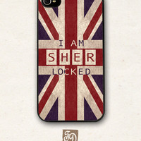 Iphone 4 / 4s hard or rubber case SHERLOCK Holmes , SHERlocked , Union Jack