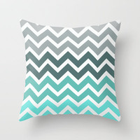Tiffany Fade Chevron Pattern Throw Pillow by RexLambo | Society6