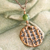 Copper Necklace, Round pendant Chinese Characters Green Bead, Handmade