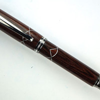 Handcrafted Wooden Pen Hand Turned Cocobolo Wood Aluminum Scallop accents Black Titanium Hardware 426T