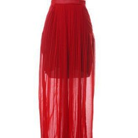 Front Pleated Maxi Skirt in Rose by Chic+ - Bottoms - Retro, Indie and Unique Fashion