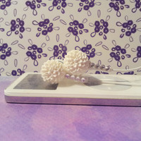 White Chrysanthemum earbuds with swarovski crystals