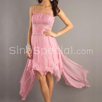 Beautiful Pink A-line Spaghetti Straps Neckline Mini Chiffon Graduation Dress-SinoSpecial.com
