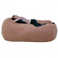 7-feet Xx-large Rust Cozy Sac Foof Bean Bag Chair Love Seat: Home & Kitchen