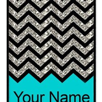 Personalized Turquoise Chevron Pattern rubber iphone 4 case (NOT GLITTERY) - Fits iphone 4 & iphone 4s