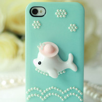 Handmade Swimming Dolphin with Pearl iPhone Case