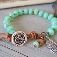 Beachy knotted bracelet - Palm Island - seafoam green aqua, rustic, sterling silver, slashKnots slipKnots  leather, surfer boho chic
