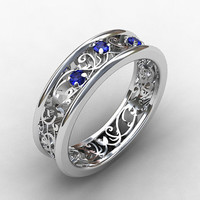 Blue sapphire ring, white gold, wedding band, filigree engagement, sapphire ring, blue wedding ring, vintage style, unique, sapphire ring