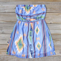 Ancient Meadow Dress in Blue, Sweet Women's Bohemian Clothing