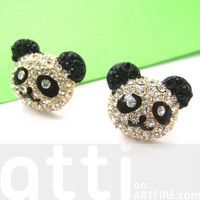 Small Panda Teddy Bear Cute Rhinestone Stud Earrings