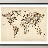 Cats Map of the World Map, Art Print, 18x24 inch (180)