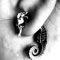 $98.00 The Seahorse Dream unique sterling silver Earrings by OurFamilyJewelsLA