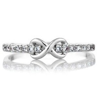 Elle&#x27;s CZ Infinity Charm Petite Stackable Ring Band