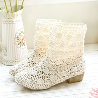 favthing — Hollow Knitted Flattie Shoes Casual Sandals Ankle Boots