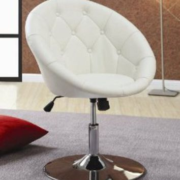 Amazon.com: Swivel Chair with Button Tufted White Leatherette Seat Chrome Base: Home & Kitchen