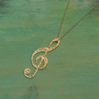 Treble Clef Golden Necklace, Gold filled Necklace, a gift for music lovers- Handmade- Free Shipping