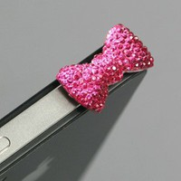 ZuGadgets Magenta / Earphone jack accessory / Bow Dust Plug / Ear Cap / Ear Jack For iPhone / iPad / iPod Touch / 3.5mm-7232-3: Cell Phones & Accessories
