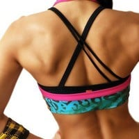 Asymmetrical Criss Cross Black Scoop Sports Bra