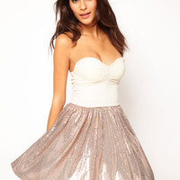 Love Bandeau Sequin Chiffon Skater Dress