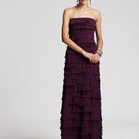 Tadashi Shoji Fan-Pleated Strapless Chiffon Gown - Evening - Bloomingdales.com