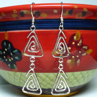 Triangular Spiral .925 Sterling Silver Dangle Links and Ear Wires