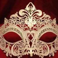 Amazon.com: White Venetian Laser Cut Metal Mask w/ Crystal Clear Rhinestones: Home &amp; Kitchen