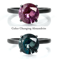 Alexandrite Ring, Color Changing Alexandrite and Sterling Silver Ring