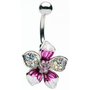 Glitz and Glamour Tropical Flower Belly Ring: Home & Kitchen