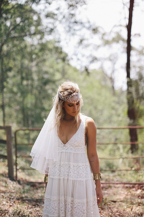 Bohemian vintage style wedding dress with from for French vintage wedding dresses