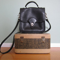 Vintage leather purse/ Square turn lock cross body bag/ Coach style black bag