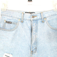 90's High Rise Distressed Denim Shorts size S/M by NightAfterNight