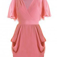 LOVE Raspberry Yoke Drape Dress - Love