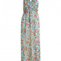 LOVE Aqua Alice Floral Print Sleeveless Cross Over Maxi Dress - Love
