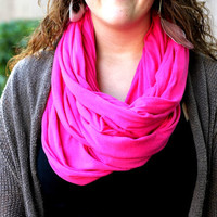 Hot Pink Infinity Scarf - Free Shipping- Pink Cowl- Relaxed version - Loop Scarf Infinity- Soft Knit