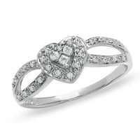 1/6 CT. T.W. Diamond Heart Split Shank Promise Ring in 10K White Gold - View All Rings - Zales